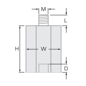 Termate Low Smoke Standoff Insulators- LSH Female/Male Diagram, labelled with letters to represent specific dimensions in the table below.