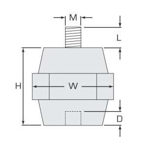 Termate Low Smoke Standoff Insulators- L3 Female/Male Diagram, labelled with letters to represent specific dimensions in the table below.