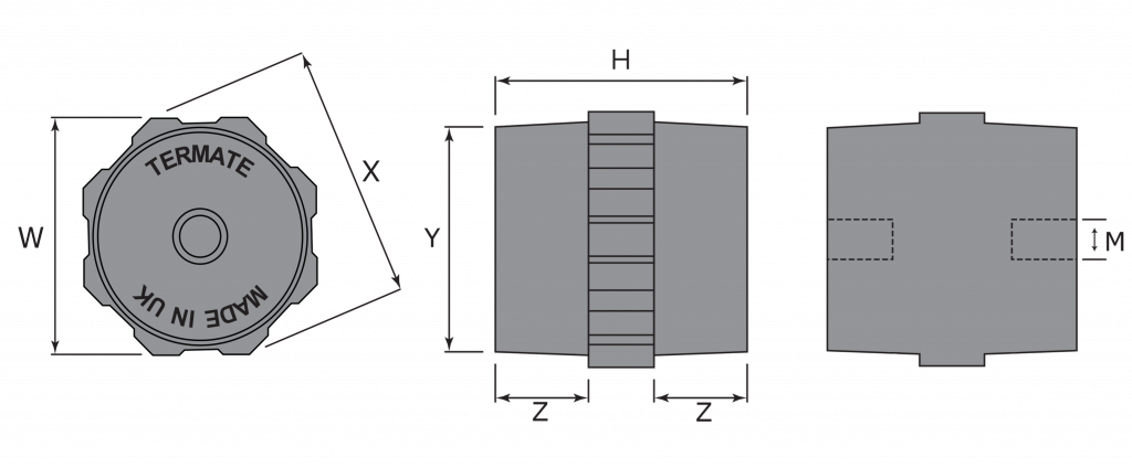 Diagrams of the plan and side view of Termate Low Voltage Standoff Insulators, labelled with letters to represent specific dimensions in the table below