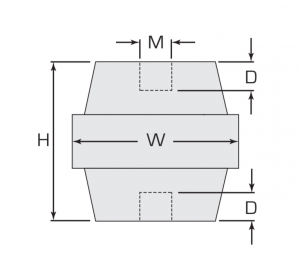 Termate Low Smoke Standoff Insulators- L3/LSO Female to Female Diagram, labelled with letters to represent specific dimensions in the table below.