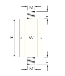 Termate Pillar Standoff Insulators- Male/Male Diagram, labelled with letters to represent specific dimensions in the table below.