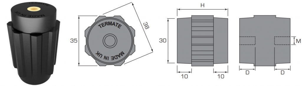 Plan and side view diagrams of the Termate standoff insulators in the AM4 footprint. Labels show width across flats is 35mm, width across corners is 38mm, base diameter is 30mm, and shoulder height is 10mm. Other dimensions are labelled with a letter, indicating a specific measurement in the table below.
