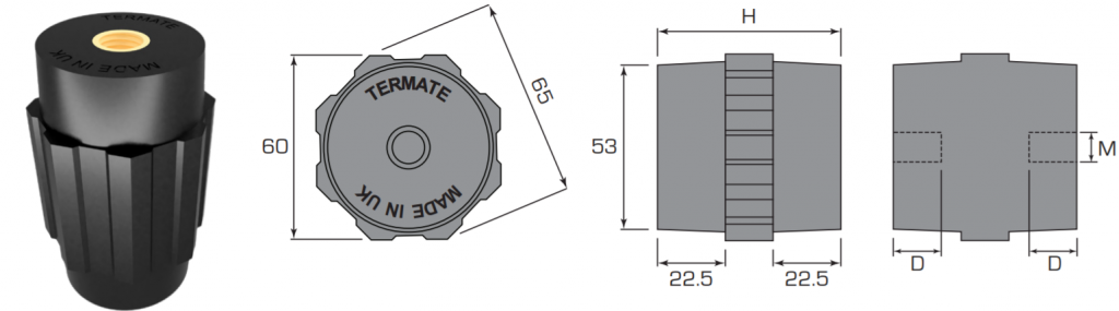 Plan and side view diagrams of the Termate standoff insulators in the AU6 footprint. Labels show width across flats is 60mm, width across corners is 65mm, base diameter is 53mm, and shoulder height is 22.5mm. Other dimensions are labelled with a letter, indicating a specific measurement in the table below.