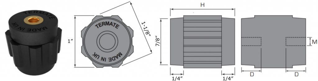 Plan and side view diagrams of the Termate standoff insulators in the AU2 footprint. Labels show width across flats is 1 inch, width across corners is 1 and 1/8 inches, base diameter is 7/8 inches, and shoulder height is 1/4 inches. Other dimensions are labelled with a letter, indicating a specific measurement in the table below.
