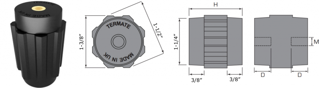 Plan and side view diagrams of the Termate standoff insulators in the AU4 footprint. Labels show width across flats is 1 and 3/8 inches, width across corners is 1 and 1/2 inches, base diameter is 1 and 1/4 inches, and shoulder height is 3/8 inches. Other dimensions are labelled with a letter, indicating a specific measurement in the table below.