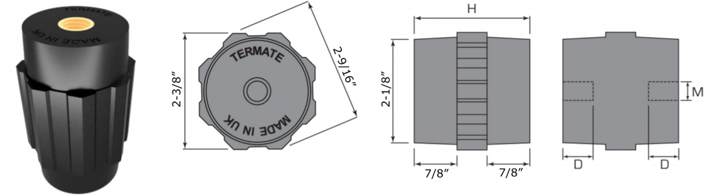 Plan and side view diagrams of the Termate standoff insulators in the AU6 footprint. Labels show width across flats is 2 and 3/8 inches, width across corners is 2 and 9/16 inches, base diameter is 2 and 1/8 inches, and shoulder height is 7/8 inches. Other dimensions are labelled with a letter, indicating a specific measurement in the table below.