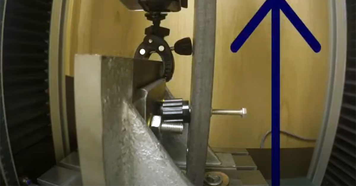 Cantilever test conducted on a standoff insulator to determine its cantilever strength