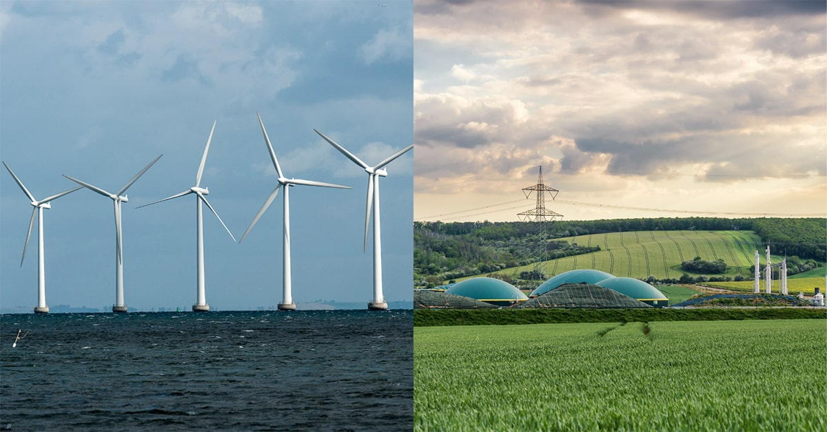 Image of offshore wind turbines and a field with a biomethane plant
